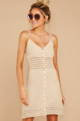 7 Storied Romance Beige Crochet Dress at reddressboutique.com