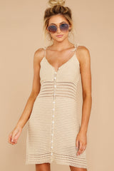 8 Storied Romance Beige Crochet Dress at reddressboutique.com