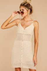9 Storied Romance Beige Crochet Dress at reddressboutique.com
