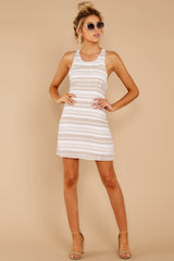 2 Got The Scoop Taupe Stripe Dress at reddressboutique.com