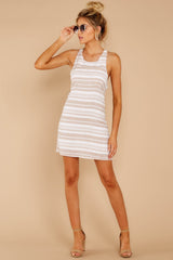 1 Got The Scoop Taupe Stripe Dress at reddressboutique.com