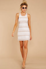 3 Got The Scoop Taupe Stripe Dress at reddressboutique.com