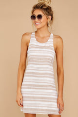 4 Got The Scoop Taupe Stripe Dress at reddressboutique.com