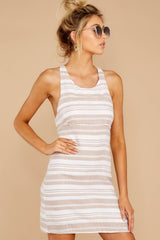 5 Got The Scoop Taupe Stripe Dress at reddressboutique.com