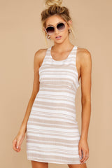 6 Got The Scoop Taupe Stripe Dress at reddressboutique.com