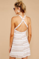 7 Got The Scoop Taupe Stripe Dress at reddressboutique.com