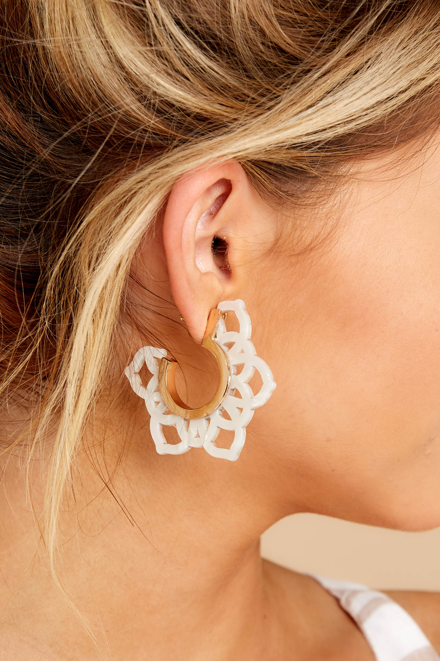 Touch Of Wonder White Acrylic Earrings