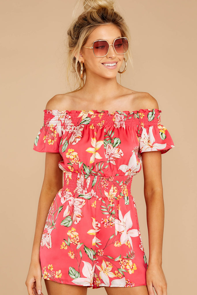 82b1401f5ee Flyaway Trip Pink Floral Off The Shoulder Romper