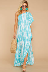 2 Palm Spring Paradise Turquoise Print One Shoulder Maxi Dress at reddress.com