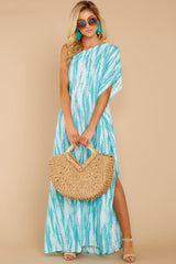 3 Palm Spring Paradise Turquoise Print One Shoulder Maxi Dress at reddress.com