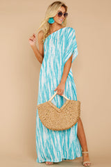 1 Palm Spring Paradise Turquoise Print One Shoulder Maxi Dress at reddress.com