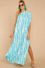 4 Palm Spring Paradise Turquoise Print One Shoulder Maxi Dress at reddress.com