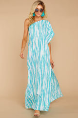 6 Palm Spring Paradise Turquoise Print One Shoulder Maxi Dress at reddress.com