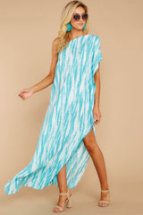 5 Palm Spring Paradise Turquoise Print One Shoulder Maxi Dress at reddress.com