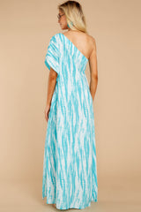 7 Palm Spring Paradise Turquoise Print One Shoulder Maxi Dress at reddress.com
