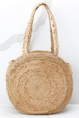 3 Take Me Around Natural Tan Round Bag at reddressboutique.com