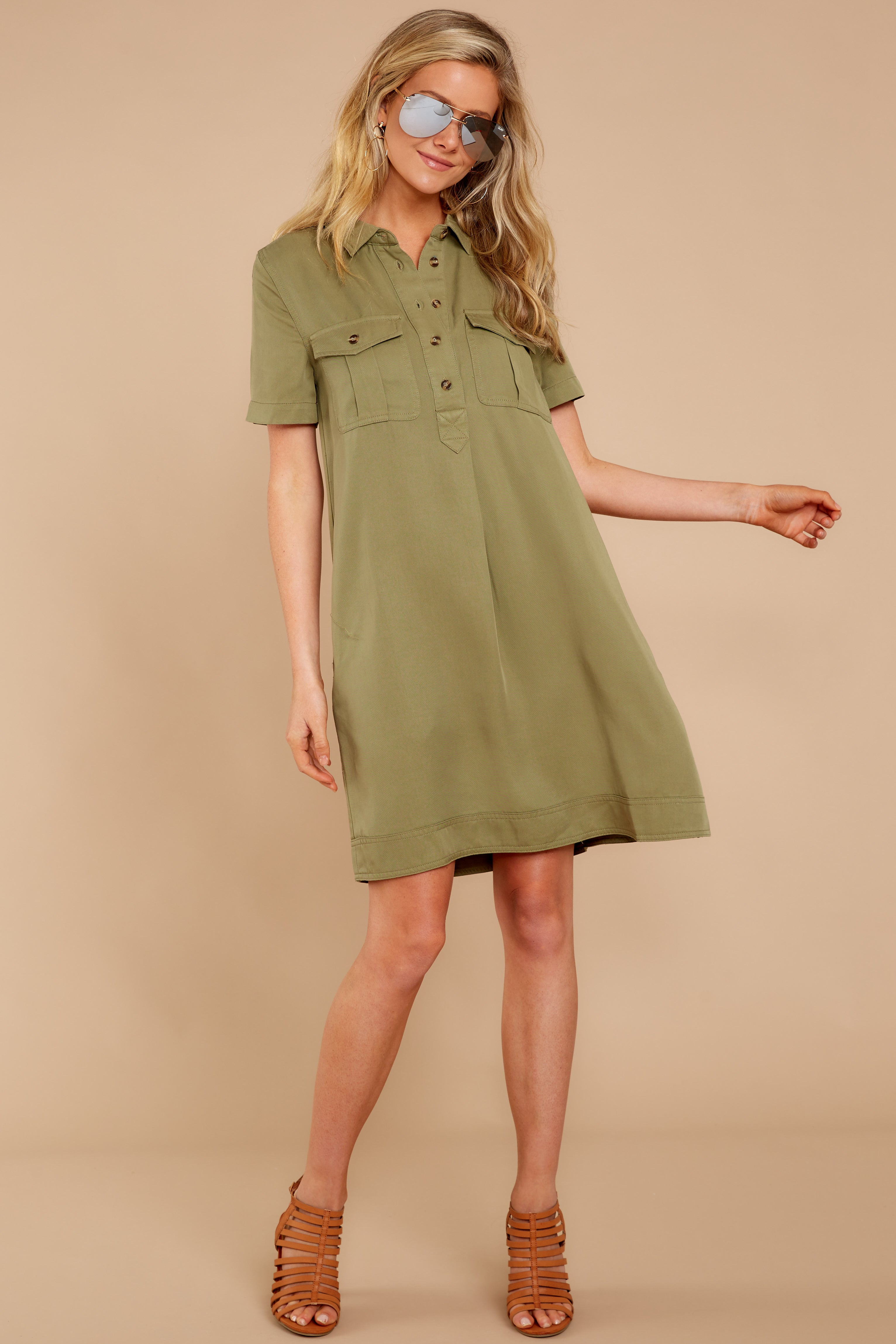 6814a813ee18 Chic Olive Green Dress - Cute Button Up Dress - Dress -  44.00 – Red ...