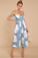 Shirred Lace-Up Tropical Print Straight Neck Off the Shoulder Jumpsuit