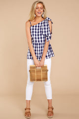 2 Everlasting Thought Navy Gingham Top at reddressboutique.com