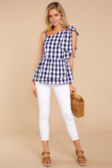 1 Everlasting Thought Navy Gingham Top at reddressboutique.com