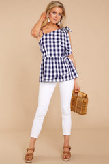 3 Everlasting Thought Navy Gingham Top at reddressboutique.com