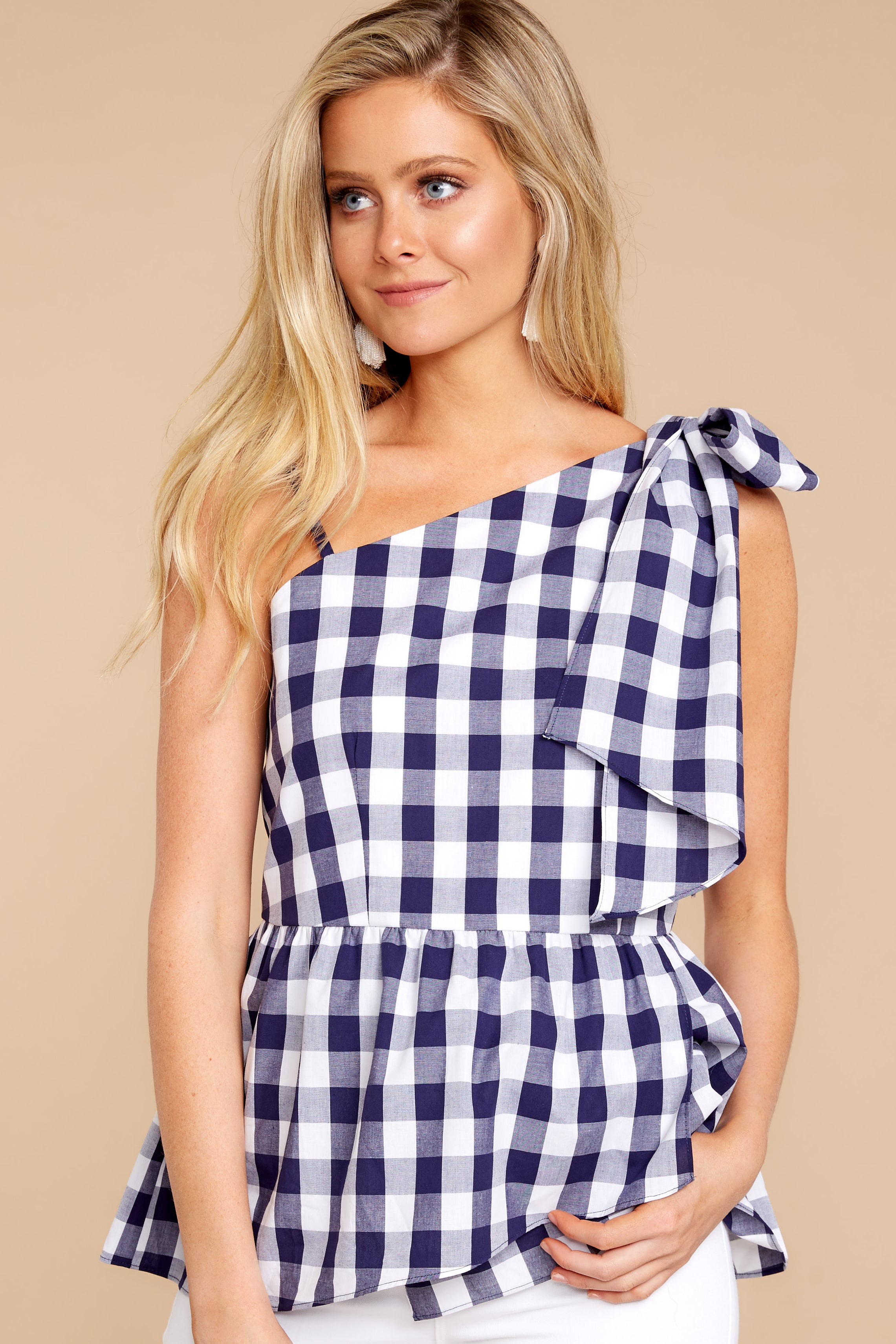 4 Everlasting Thought Navy Gingham Top at reddressboutique.com