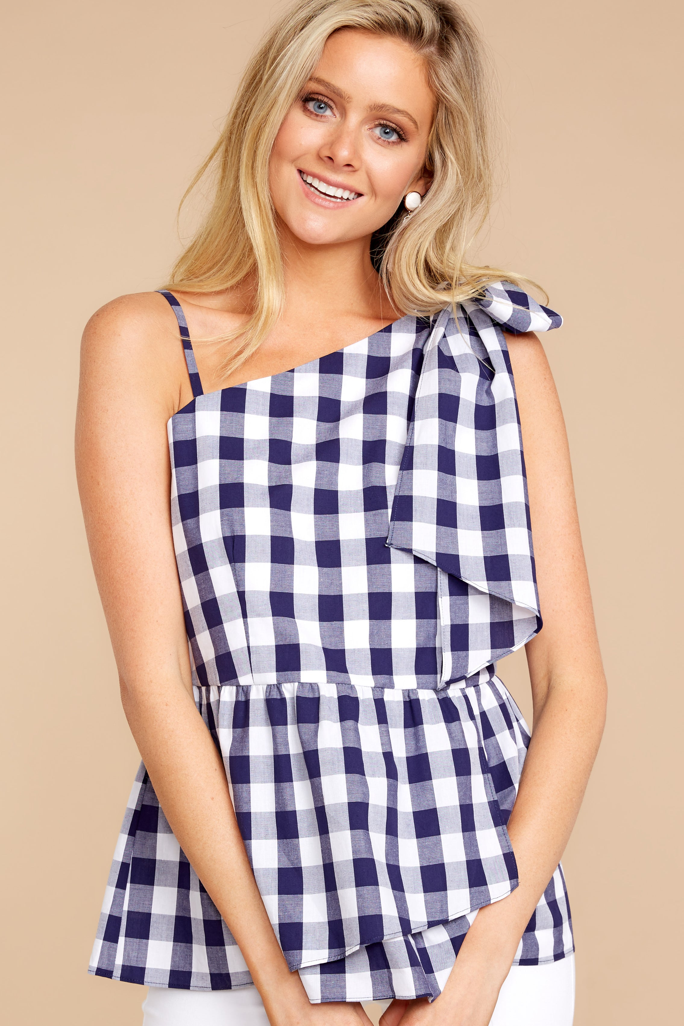 5 Everlasting Thought Navy Gingham Top at reddressboutique.com
