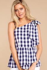 6 Everlasting Thought Navy Gingham Top at reddressboutique.com