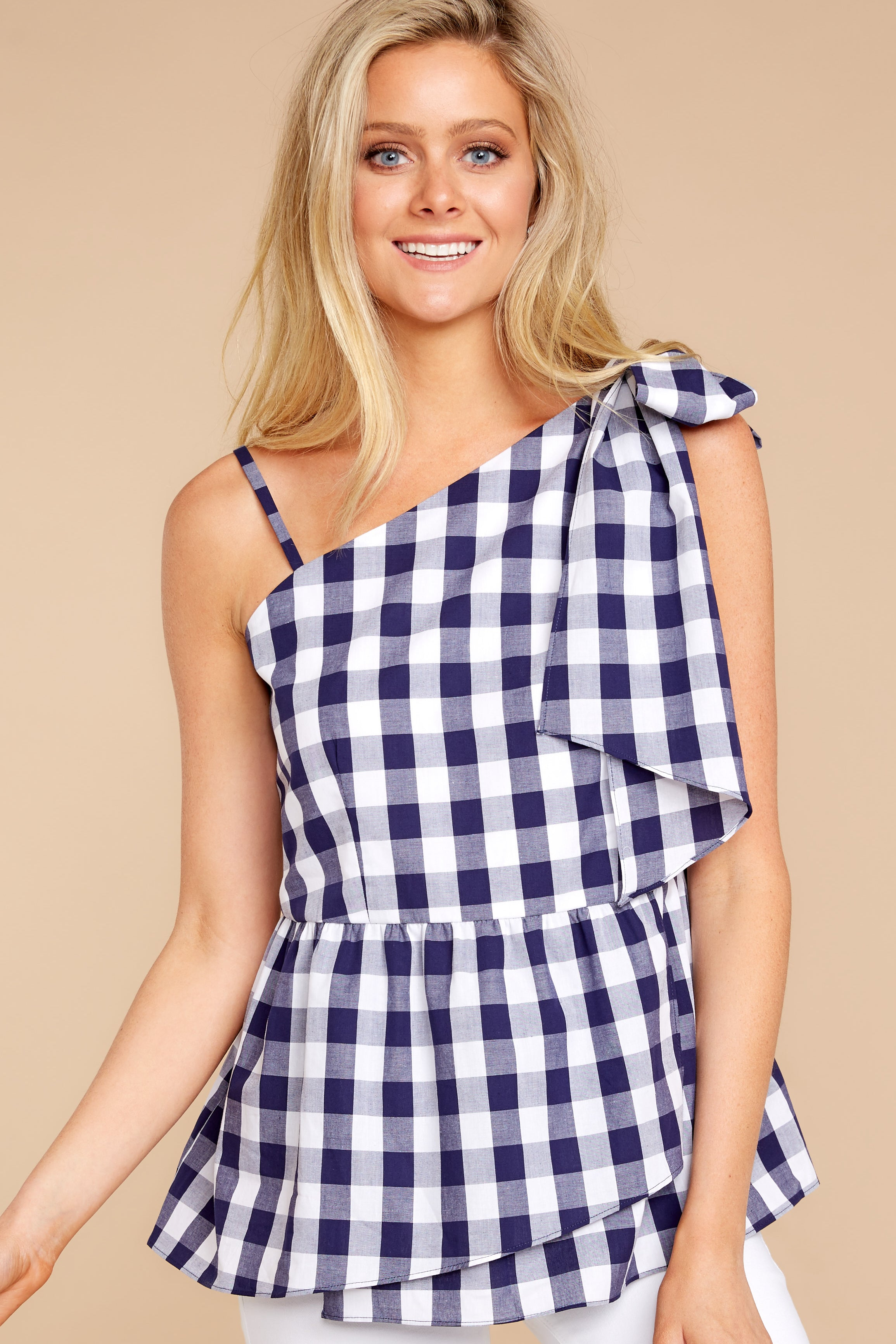 7 Everlasting Thought Navy Gingham Top at reddressboutique.com