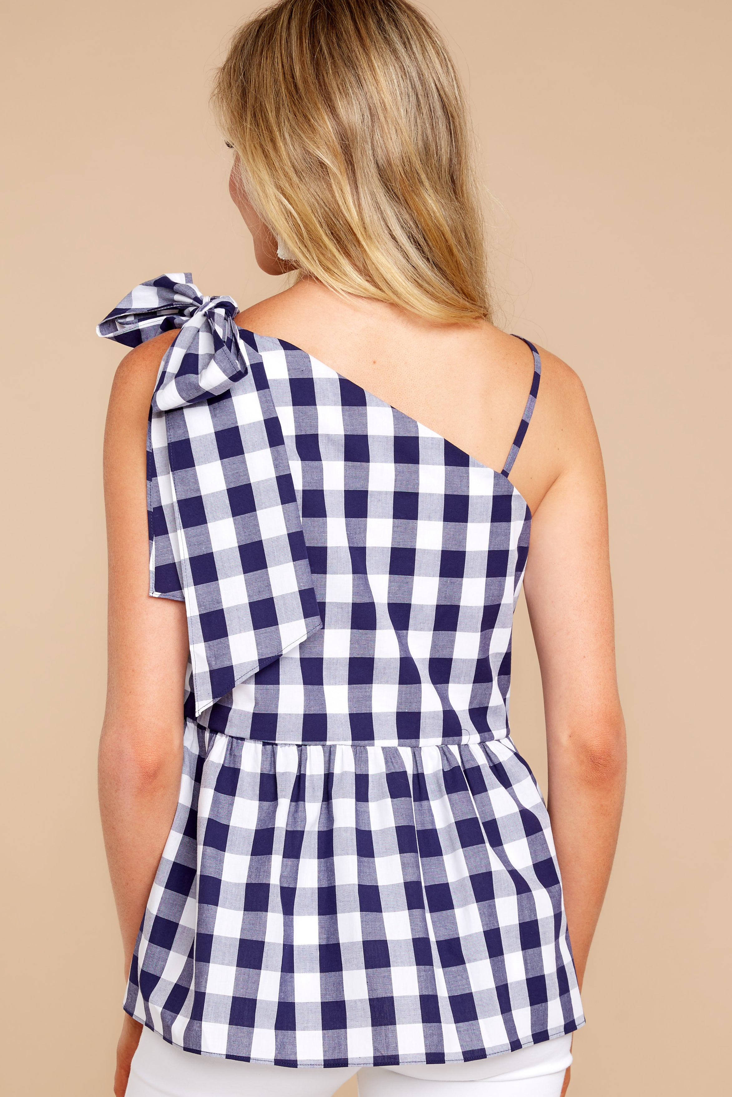 8 Everlasting Thought Navy Gingham Top at reddressboutique.com