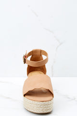 3 Whatever Whenever Tan Flatform Sandals at reddressboutique.com