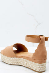 2 Whatever Whenever Tan Flatform Sandals at reddressboutique.com