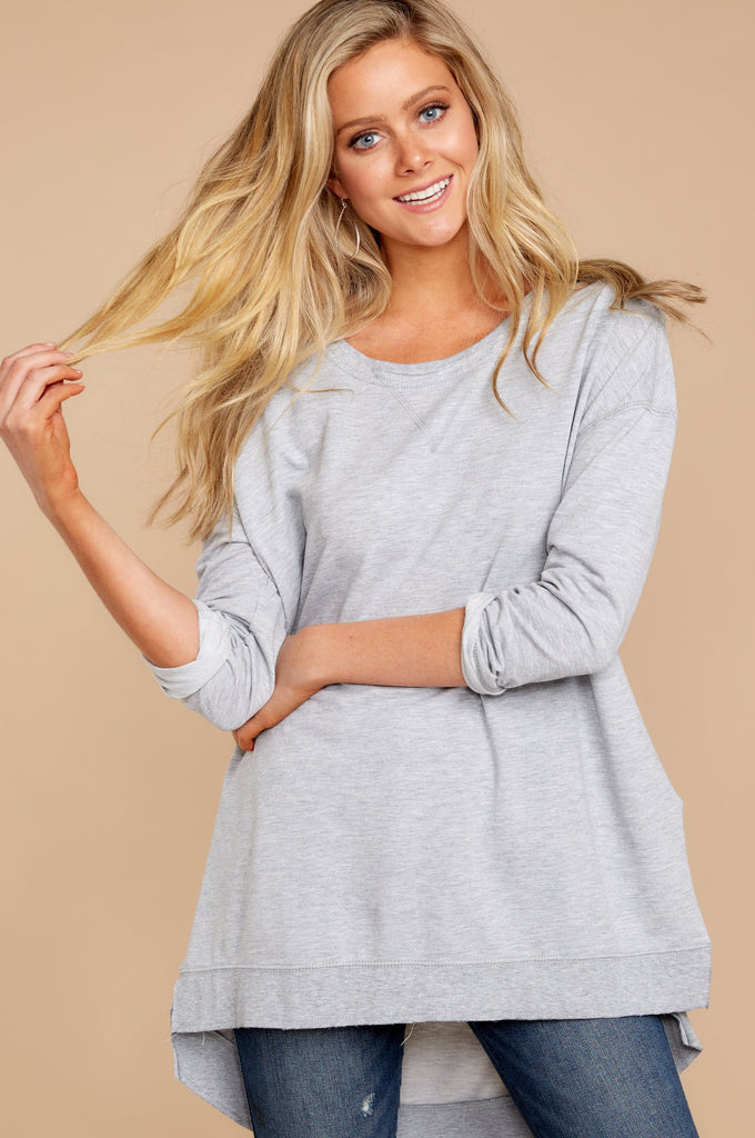 5 Wind Down Charcoal Grey Sweater at reddressboutique.com