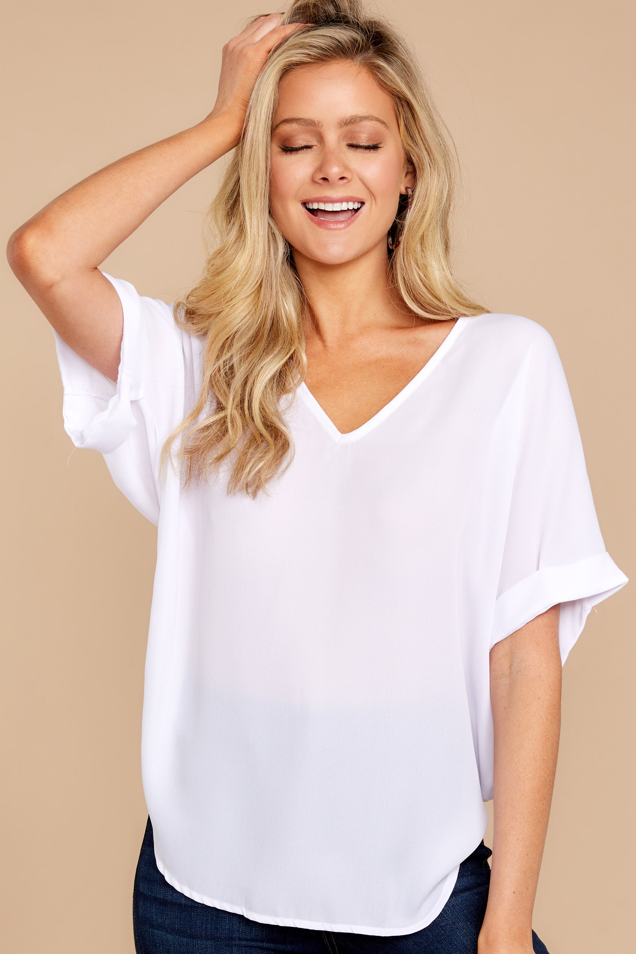 6 Everyday Classic White Top at reddressboutique.com