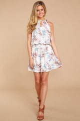 3 Stealing Your Heart White Tropical Print Dress at reddressboutique.com