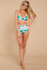 3 Trips To The Tropics Green Tropical Print Bikini Bottoms at reddressboutique.com