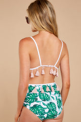 2 Trips To The Tropics Green Tropical Print Bikini Bottoms at reddressboutique.com