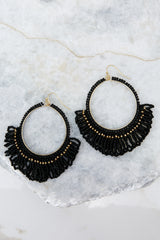 1 Looking Out Black Beaded Earrings at reddressboutique.com