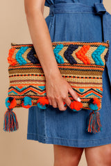 3 Pom It Out Orange Multi Embroidered Clutch at reddressboutique.com