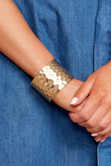4 Make Them Stammer Gold Cuff Bracelet at reddressboutique.com