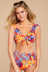 3 Out To Sea The World Red Tropical Print Bikini Top at reddressboutique.com