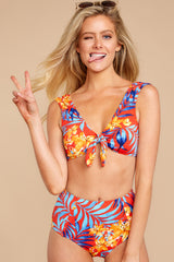 4 Out To Sea The World Red Tropical Print Bikini Top at reddressboutique.com