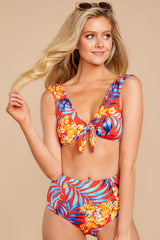 5 Out To Sea The World Red Tropical Print Bikini Top at reddressboutique.com