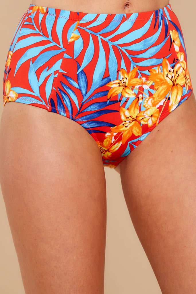 1 Moving To Maui Blue Tropical Print Bikini Bottom at reddressboutique.com