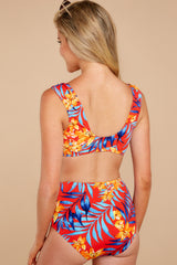 6 Out To Sea The World Red Tropical Print Bikini Top at reddressboutique.com