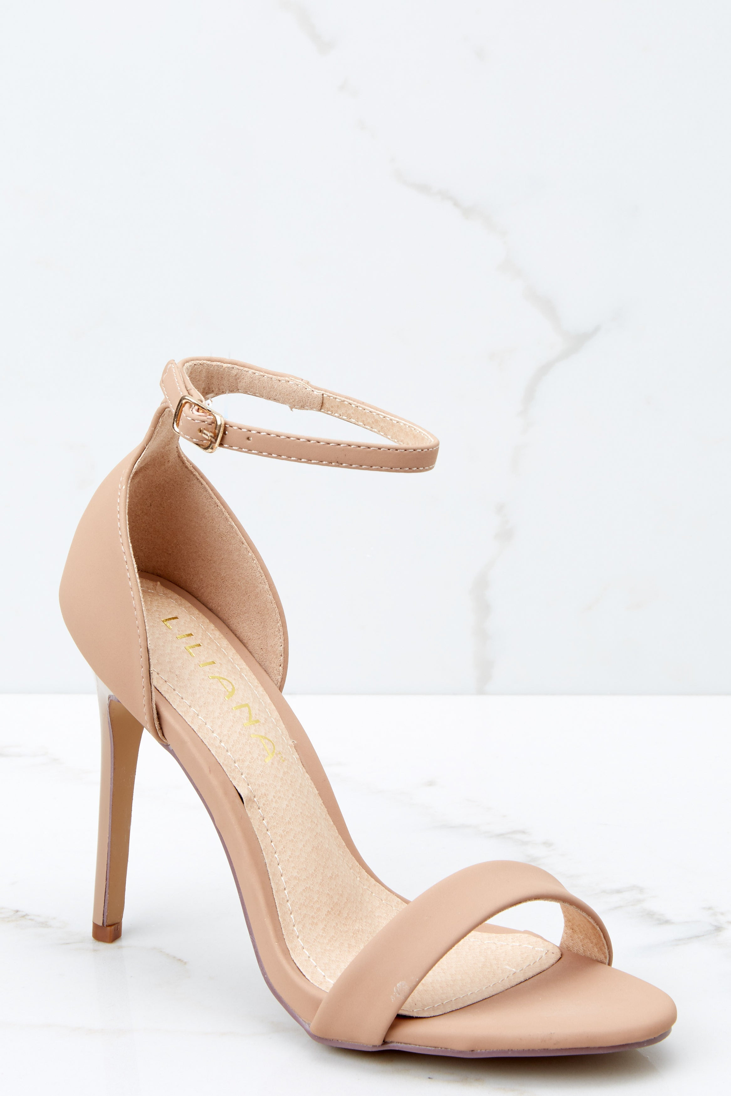 1 Timeless Moves Nude Ankle Strap Heels at reddressboutique.com