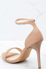 3 Timeless Moves Nude Ankle Strap Heels at reddressboutique.com
