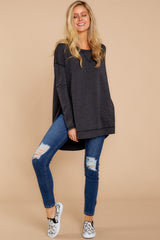 2 Weekender Sweater In Black at reddressboutique.com