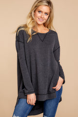 6 Weekender Sweater In Black at reddressboutique.com