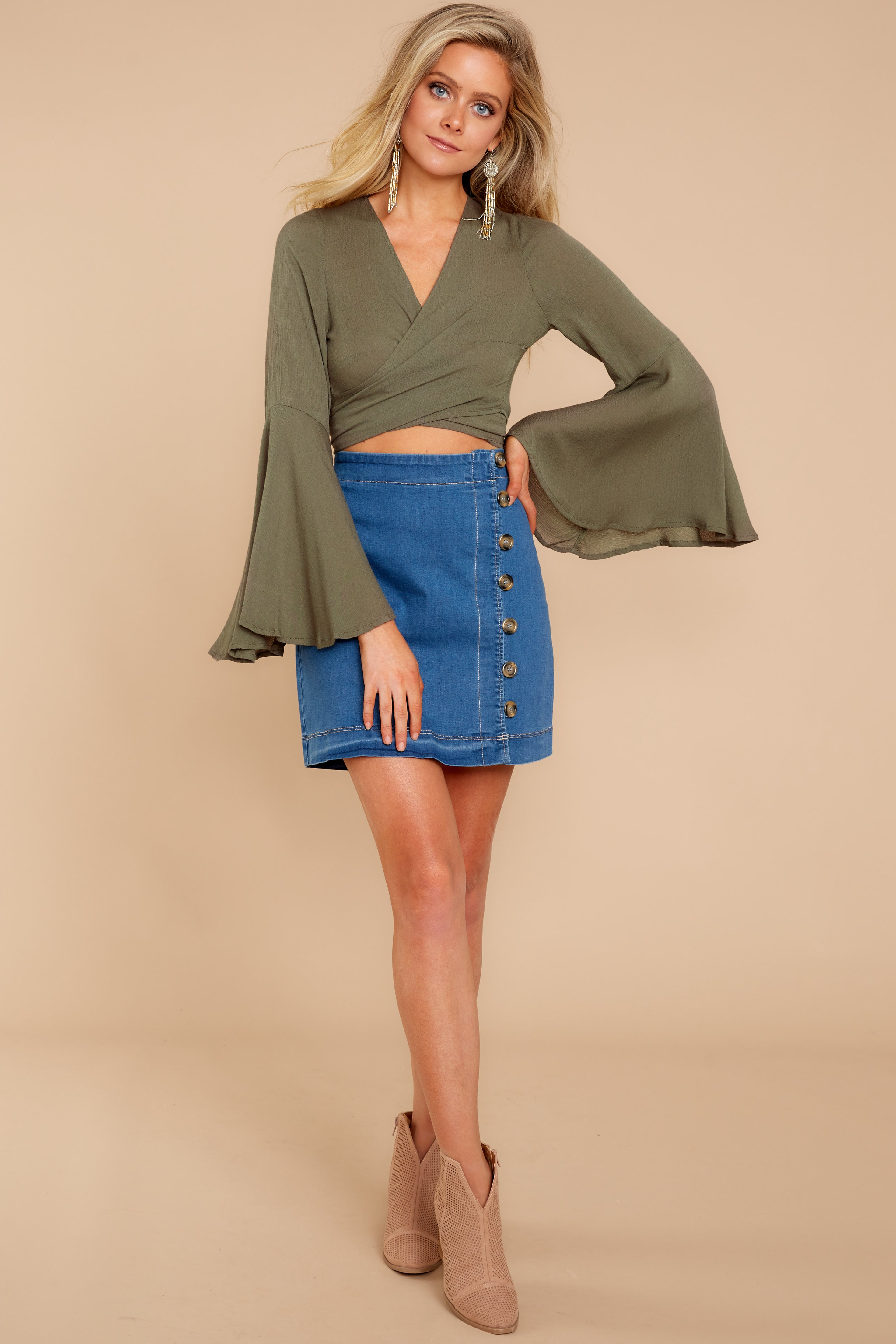 2 Wanting This Olive Tie Top at reddressboutique.com